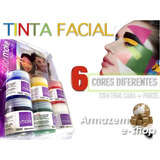 Tinta Facial Color Make Atóxica Blister Com 6 Potes Sortidos