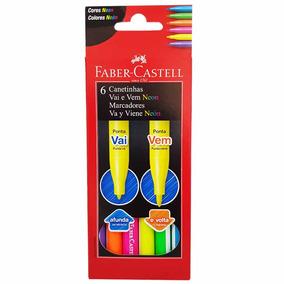 Canetinha Hidrográfica 6 Cores Neon Vai E Vem Faber Castell