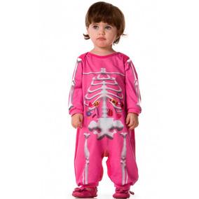 Roupa De Menina Halloween Caveira Esqueleto Rosa P/ Entrega