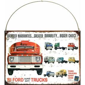 Cartel Chapa Publicidad Antigua Ford Camion Trucks 1961