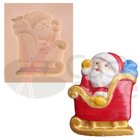 Molde De Silicone P/ Biscuit: Papai Noel No Trenó N013