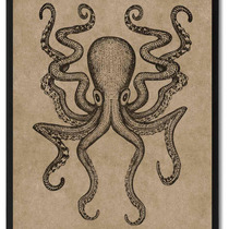 Octopus Animal Brown Canvas Print, Custom Picture Frame, 28