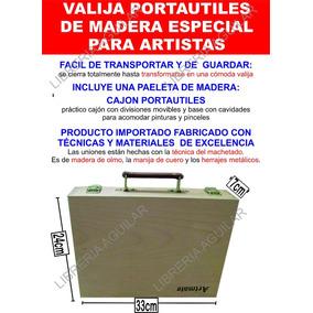 Valija Madera Portautiles Con Manija Cuero Paleta Pintor