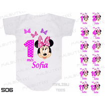 Kit 12 Body Mesversario Minnie Disney Bebê Personalize Nome