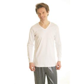 Camiseta Interlok Manga Larga Escote V Algodon Mercerizado