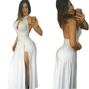 Vestido Longo Panicat Com Fenda Lateral Com Bojo