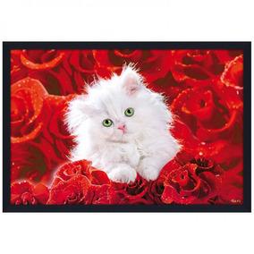 Quadro Poster Gato Filhote Sobre Rosas Vermelhas 94x64cm 25afde09badf3