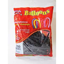 Balão Látex,escultura,260,cor Preto Pic Pic C/50 Unidade