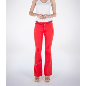 Calça Jeans Sarja Feminina Flare Colorida Vermelha Linda