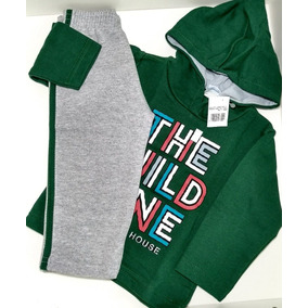 Conjunto Infantil Roupas De Frio Criança Desayner Verde