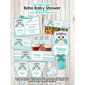 Kit Imprimible Baby Shower Búho Invitacion