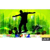 Skate Skatista Esqueitista Painel 3,00x1,60m Lona Decoração