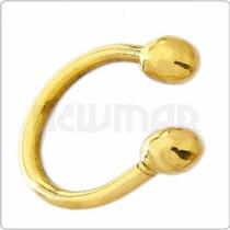 Piercing De Oro Amarillo 18 Kts Ceja Labio Pi3u-bol Newmar