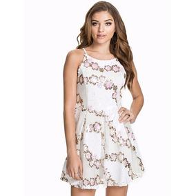 Vestido Bordado Con Lentejuelas Doradas Blancas Importado