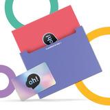 Tarjeta Oh! Gift Card $2000 Con Holder Rojo Y Sobre Azul.