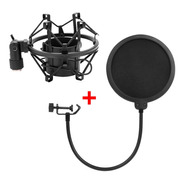 Kit Combo Shock Mount Araña + Filtro Anti Pop Radio Locucion
