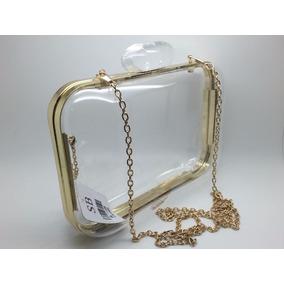 Bolsa Clutch Em Acrílico Transparente - Retangular Oval