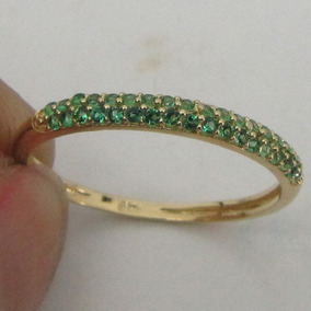 Anel De Ouro 18k Rpw 1414 Pedra Verde Esmeralda