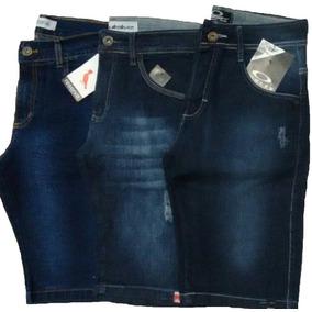 Kit 03 Bermuda Jeans Masculina Slim Fit, Vários Modelos