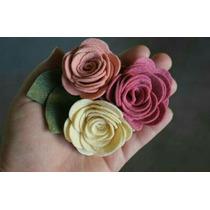 Flores De Fieltro Rosas 5 Cm Accesorios Manualidades