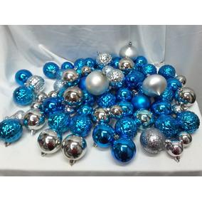 Bolsa Con 70 Esferas Navideñas Azul/plata