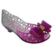 Sapato Peep Toe Sapatilha Infantil Cristal Estilo Melissa