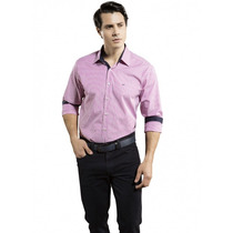 Camisa Listrada Pink Masculina Slim Fit Buon Giorno Fabiano
