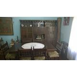 Mesa, 6 Sillas Y Mueble De Comedor. Estilo Colonial Español
