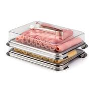 Conjunto Porta Frios 17x22cm Com Pinça 3 Peças Forma Inox