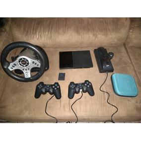 Playstation 2 + Volante + Cartão De Memória De 8 Mb