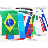 Bandeira Poliester 32 Países Bandeirinhas 20cm X 30cm 12metr