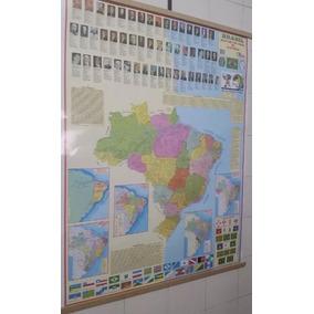 Mapa Brasil Político Histórico Escolar Com Molduras Laminado