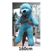 Urso Azul Grande De Pelúcia Gigante 1,60 Mts Casa Dos Ursos