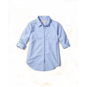 Hollister Camisa Dama Stretch Azul Lisa