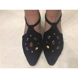 Zapatos De Gamuza Negra Con Pedreria Nr 40