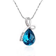 Collar Gota Azul De Chapa De Oro Con Zirconia - 1066