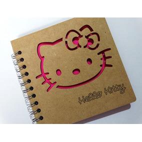 Libreta Madera Corte Láser Hello Kitty