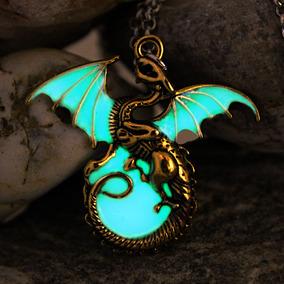 Colar Pingente Dragão Brilha No Escuro Dragon Frete R$ 8 J1
