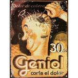 Cartel De Chapa Vintage Publicidad Antigua Geniol L661
