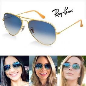 bfda0e76d166b Óculos Ray-ban Aviador Azul Degrade Lentes Cristal Envio 24h