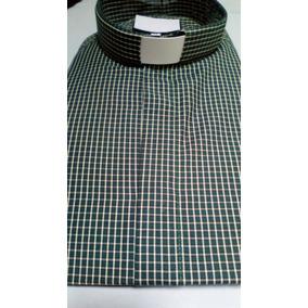 Camisa Clerical Verde A Cuadros Talla Xl