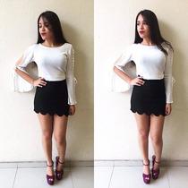 Saia Nuvem Babadinho Moda Blogueira Tecido Jacar