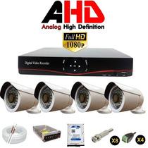 Kit Dvr 8 Canais 4 Câmeras Ahd 2.0 Mega Pixel + Hd 1 Tb