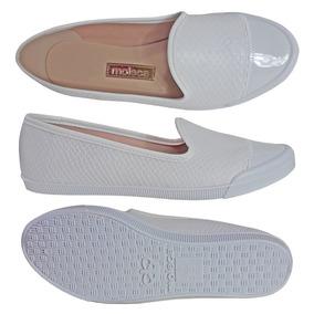 Sapato Branco Enfermagem Feminino Fechado Slip On Moleca