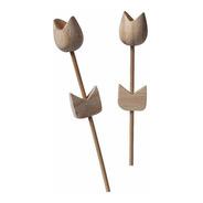 10 Tulipa De Madeira Cru Varetas Difusor Artesanato 27cm