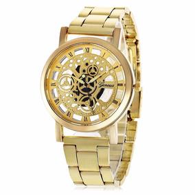 Relógio Masculino Barato Dourado Luxo Original