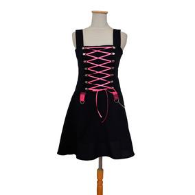 Vestido Gótico Nu Goth Dark Kawaii Negro Y Fucsia Pastel