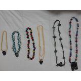 Lote Collares Rusticos De Madera Y Piedras Exlusivos