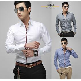 Camisas Hombre Elegante Blanca Filos Vino,slim Fit Linea Juv