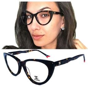 Armação Oculos Grau Feminino Ch Acetato Gatinho G Original